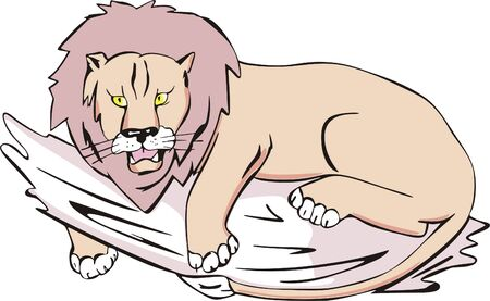 undomestic: Vector EPS illustration of lion lying on a snag.