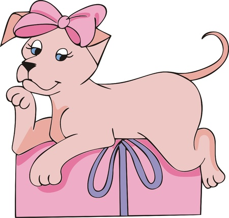 Nice pink doggy with pink bow and lying on a pink gift package. Vector EPS Illustration. Vector