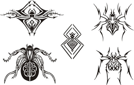 The set with five simple symmetrical black and white spider sketches most suitable for tattoos, vinyl-cutting or T-shirts. Vector EPS Illustrations.
