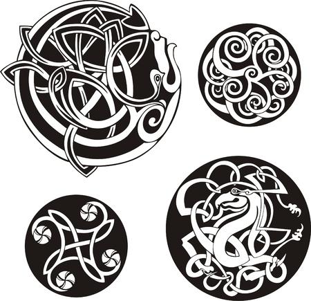 円形のケルト族の結び目のベクトルのセット  イラスト・ベクター素材