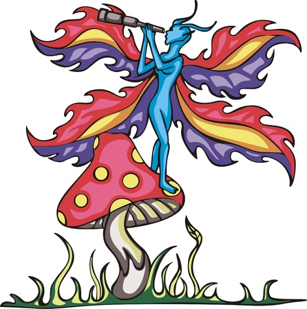 Fairy elf on mushroom with monocular tube Vector
