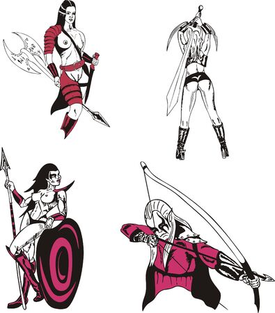 Fantasy Warriors  Vector Set Vector