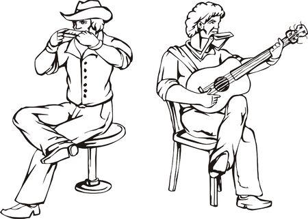 harmonica: Folk rock  Vector illustration