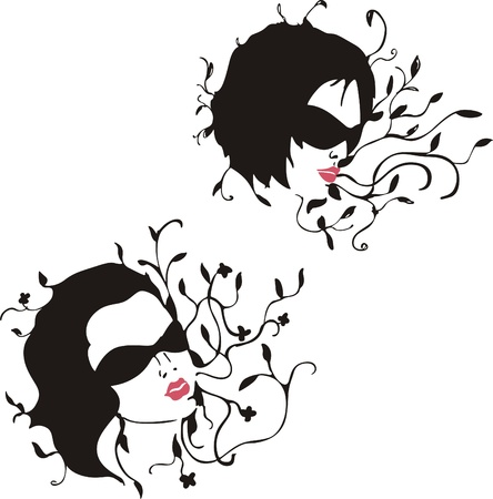 Girls in branches with leaves Vector