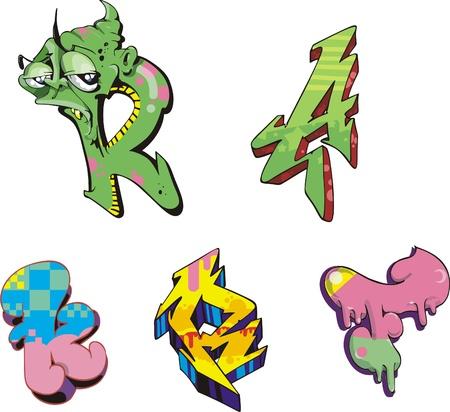 Graffiti inital letters Stock Vector - 13572188