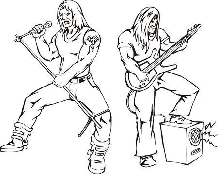 Heavy metal rock singers  Stock Vector - 13572180