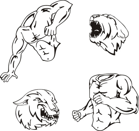 Vector set of mascot templates Illustration