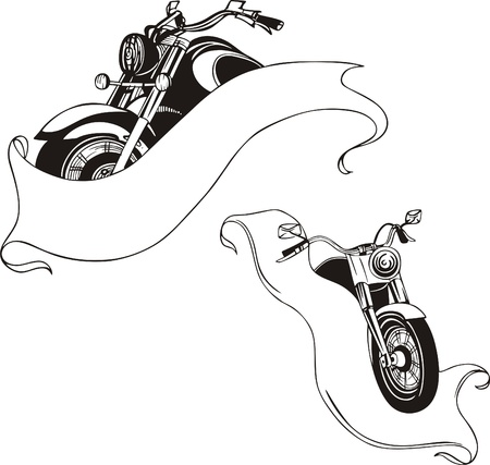Motorcycles with ribbons  Vector set