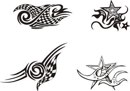 Racing and Star Designs  Vector Set Stock Vector - 13572142