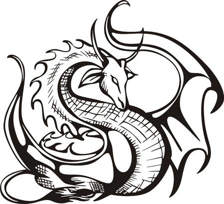 tatouage dragon: Raising dragon noir et blanc illustration vectorielle