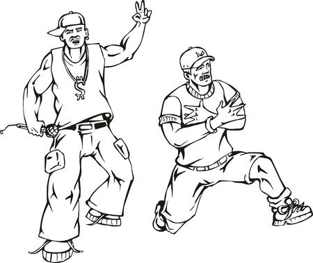 raperos: Los raperos vector de Blanco y Negro ilustración