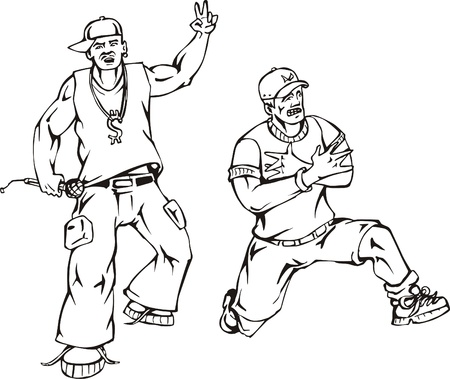 Rappers  Black and white vector illustration