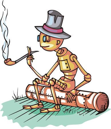 smoking pipe: Robot sits on pipe and smokes  Cartoon Illustration