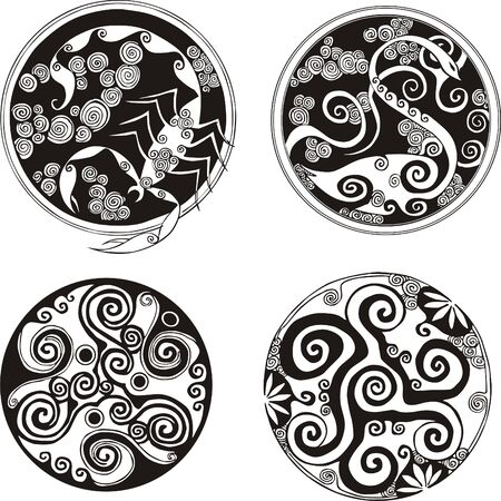 bird  celtic: Round spiral designs  Vector set
