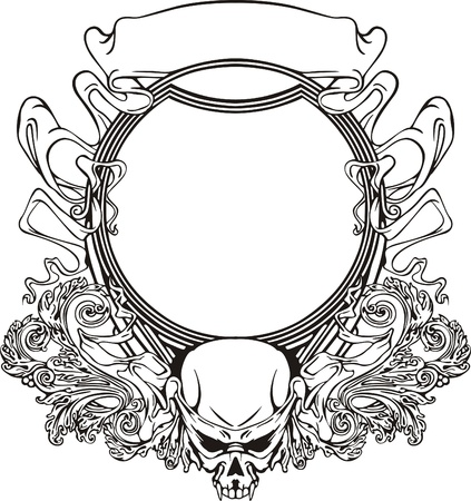 Frame with skull in Art Nouveau style  Black and whie vector illustration  Vector
