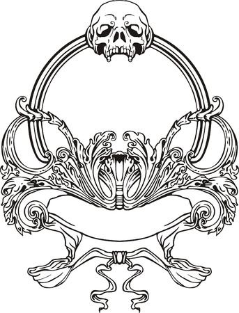 アール ヌーボー様式黒頭蓋骨とフレームと whie ベクトル イラスト