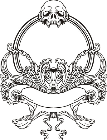 Frame with skull in Art Nouveau style  Black and whie vector illustration