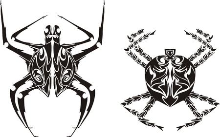 Stylized spiders  Vector set Vector