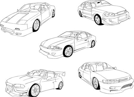 noname: Abstract noname cars  Set of black and white illustrations