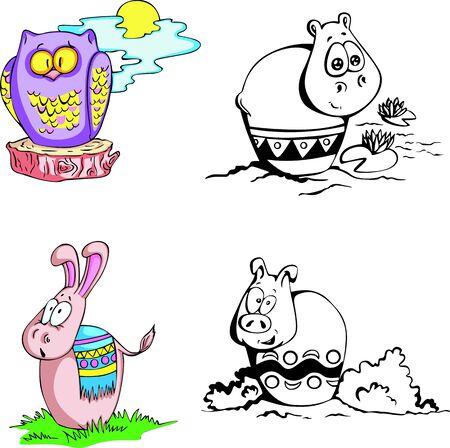 caricaturas de animales: Dibujos animados de animales Juego de color y negros ilustraciones en blanco Vectores