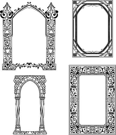 アール ヌーボー様式フレーム黒と白のイラストのセット  イラスト・ベクター素材