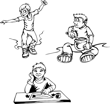 Boy cartoons. Set of black and white illustrations. Vector