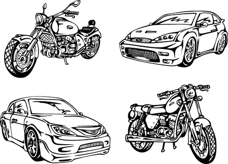 noname: No name cars and motorcycles. Set of black and white illustrations