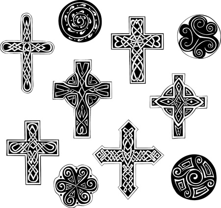 celtic cross: Celtic knot crosses and spirals. Set of black and white  illustrations.