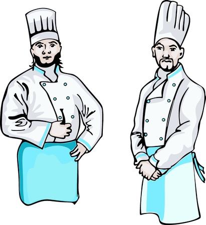 steward: Two cooks. Set of color illustrations. Illustration
