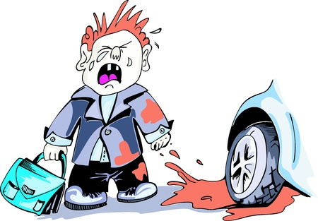 dirty car: Crying boy and car wheel. Cartoon. Color illustration