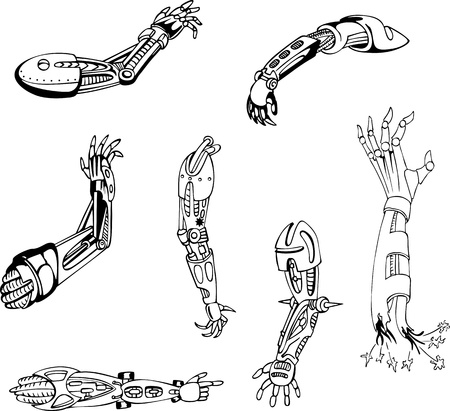 biomechanics: Biomechanical cyber-hands. Set of black and white illustrations. Illustration