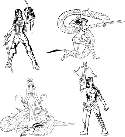 Dangerous fantasy amazon girls. Set of black and white  illustrations. Vector