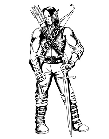 Fantasy elf warrior. Black and white illustration. Vector