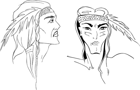 american indians: Faces of American Indians. Set of black and white illustrations.
