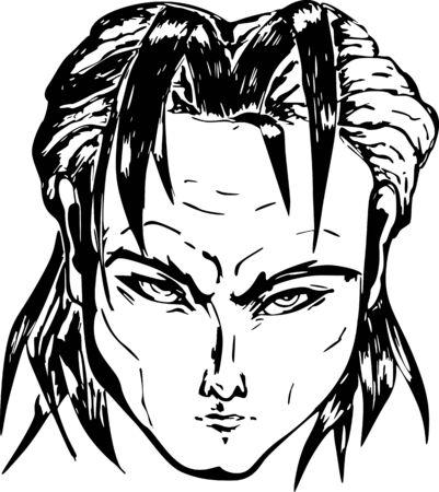 severe: Face of severe man. Black and white illustration Illustration