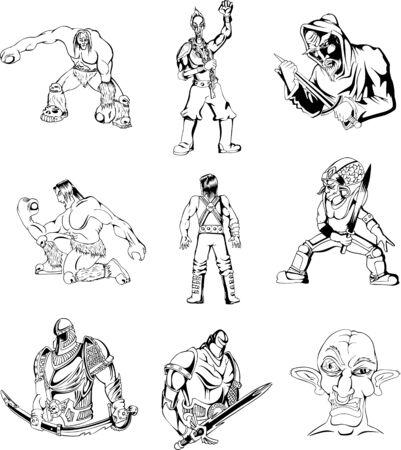 Fantasy uomini e guerrieri. Set di illustrazioni in bianco e nero.