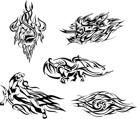 Flame tattoos. Set of black and white illustrations.
