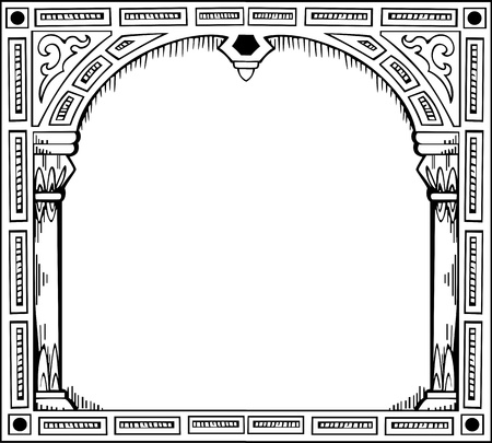 Frame in form of gate. Black and white illustration. Vector