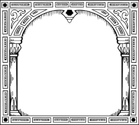 quadratic: Struttura in forma di cancello. Illustrazione in bianco e nero. Vettoriali