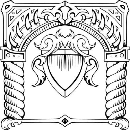 quadratic: Estructura en forma de arco con el escudo. Ilustraci�n en blanco y negro. Vectores