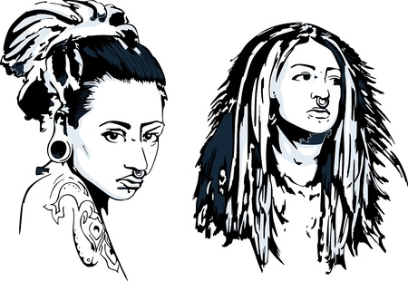 nose ring: Girls with pierced nose ring. Set of gray-mode illustrations.