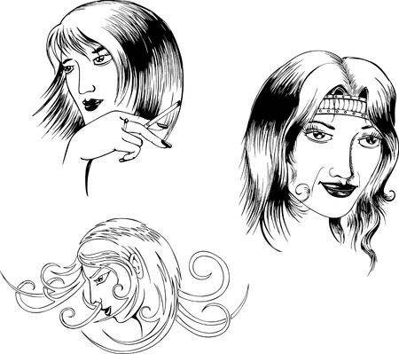 women smoking: Retratos de mujeres en dos estilos. Conjunto de ilustraciones en blanco y negro.