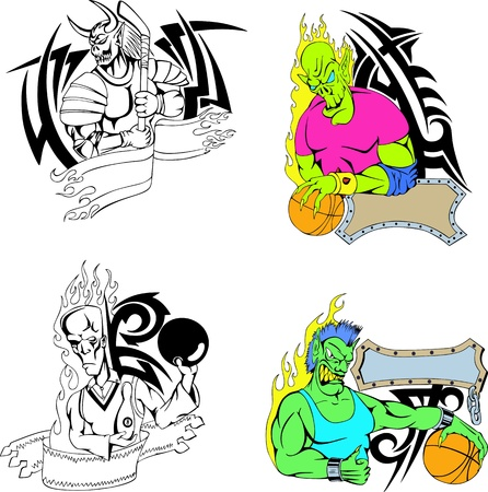 Sport monster templates. Set of color and blackwhite illustrations. Vector