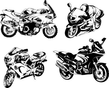 オートバイ。黒と白のイラストのセットです。