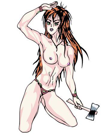 axe girl: Nude girl with axe. Color illustration.