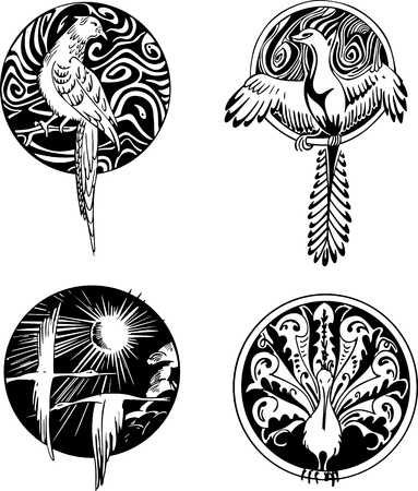 birds of paradise: Round bird designs. Set of black and white illustrations.
