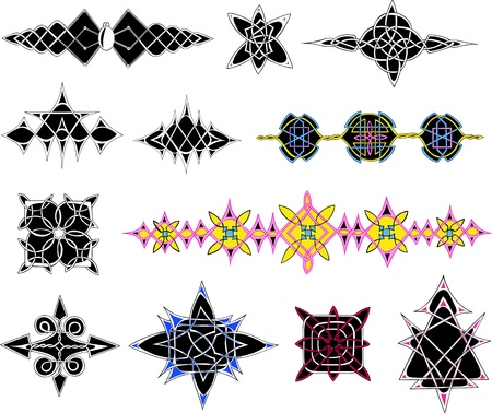Knot patterns. Set of color and black/white illustrations. Stock Vector - 13607954