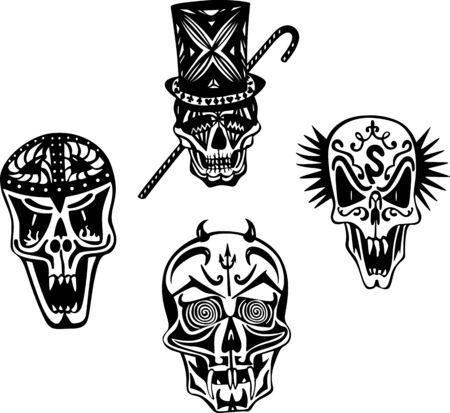 deadman: Stylized skulls. Set of black and white illustrations.