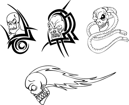 Skull tattoos. Set of black and white illustrations. Vector