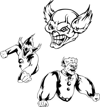 spiteful: Spiteful jokers. Set of black and white illustrations.